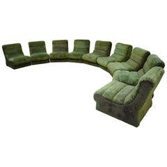 Italian Sectional Sofa in Green Plush, 1970s