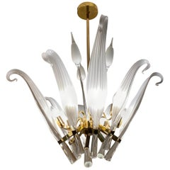 Italian Seguso Murano Glass and Brass Midcentury Chandelier