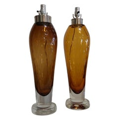 Italian Seguso Murano Glass Table Lamps, Attributed to Flavio Poli