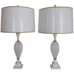 Italian Seguso White Murano Art Glass and Marble Table Lamps