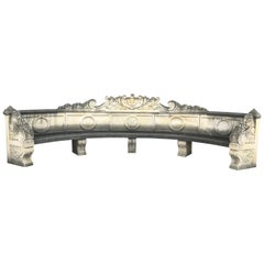 Italian Semi Circular Finely Carved Large Lime Stone Bench Garden Furniture