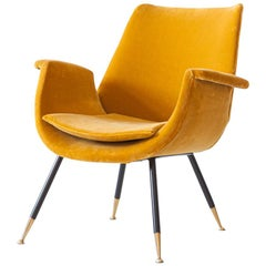 Italian Senape Velvet Lounge Armchair by Gastone Rinaldi