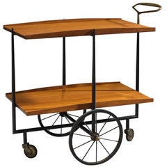 Italian Serving Cart in Wood with Brass Details
