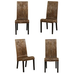 Italian Set of 4 Modern Designed, Artisan Created, Bent Reed Side Chairs