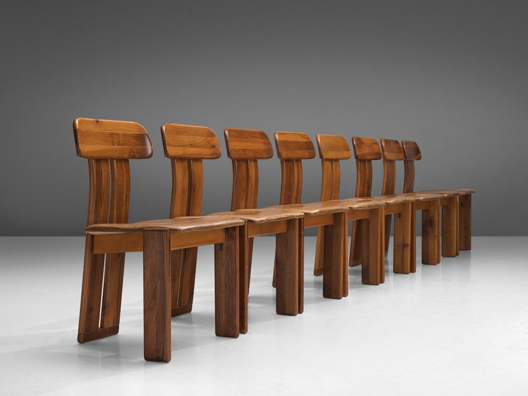 Mid-Century Modern Italian Set of Eight Dining Chairs by Sapporo, 1970s For Sale