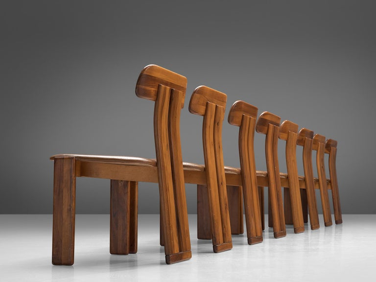 Italian Set of Eight Dining Chairs by Sapporo, 1970s In Good Condition For Sale In Waalwijk, NL