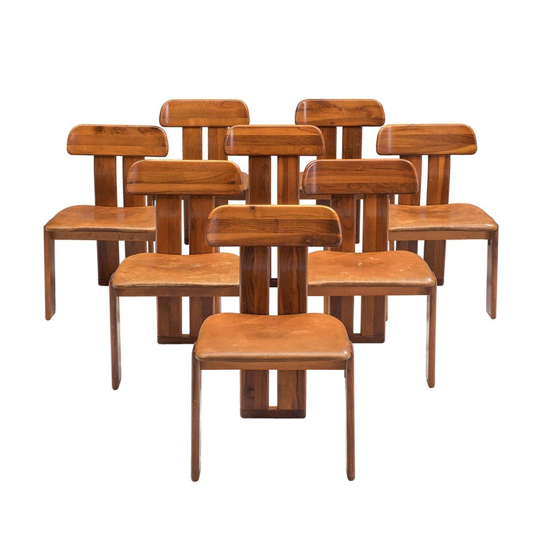 Italian Set of Eight Dining Chairs by Sapporo, 1970s For Sale