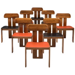 Italian Set of Eight Dining Chairs by Sapporo in Mixed Colored Seats