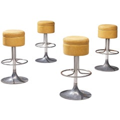 Italian Set of Four Bar Stools in Leatherette