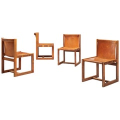 Italian Set of Four Dining Chairs in Patinated Cognac Leather