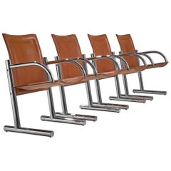 Italian Set of Four Tubular Chairs with Cognac Leather