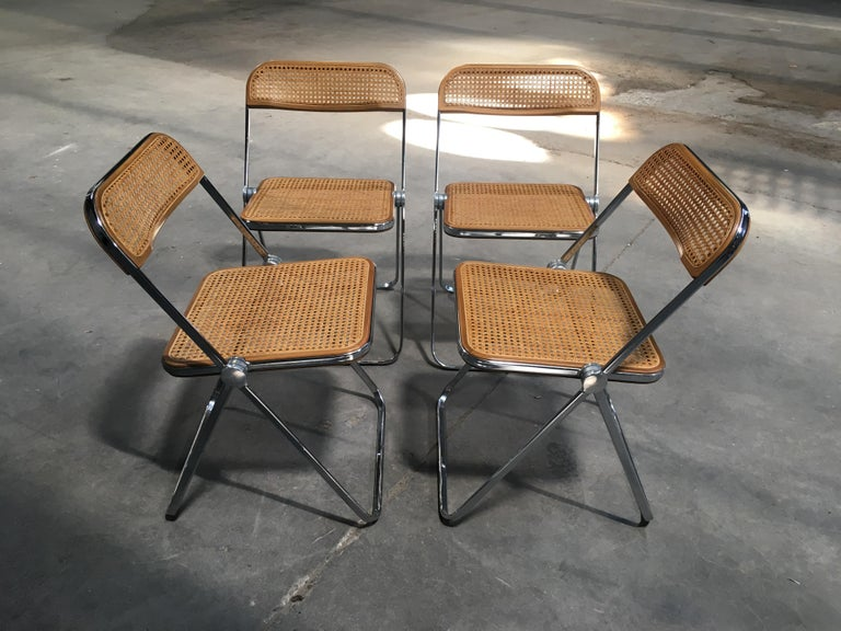 Italian Set Of Four Woven Wicker And Wood Giancarlo