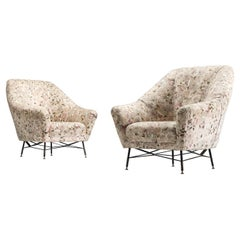 Italian Set of Lounge Chairs with Floral Upholstery