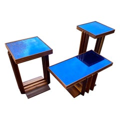 Italian Set of Mid-Century Modern Cocktail & Side Tables with Blue Mirror Glass