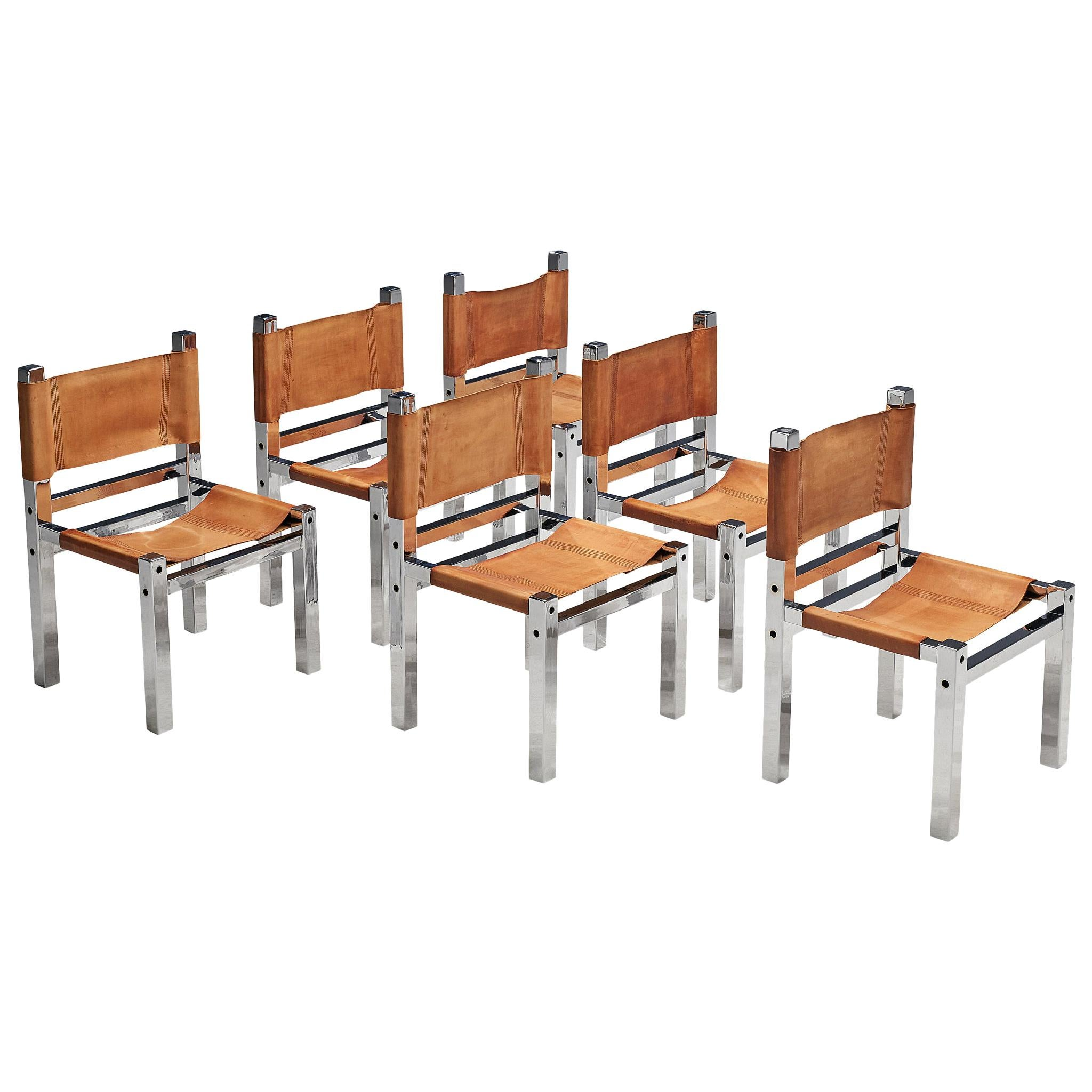 Italian Set of Six Chairs in Chromed Metal and Cognac Leather