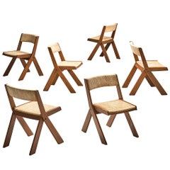 Italian Set of Six Chairs with Rope Seats