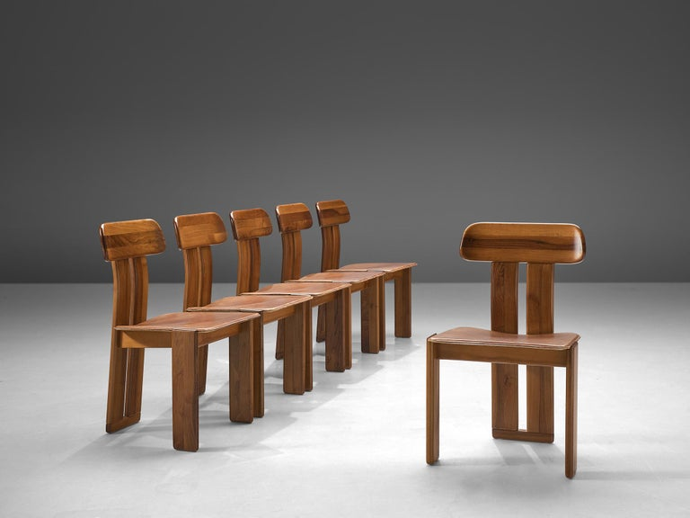 Sapporo for Mobil Girgi, set of 6 dining chairs, Italian walnut and cognac leather, Italy, 1970s.