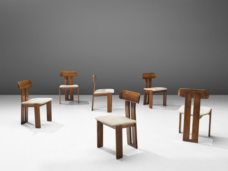 Mid-Century Modern Italian Set of Six Dining Chairs by Sapporo, 1970s For Sale