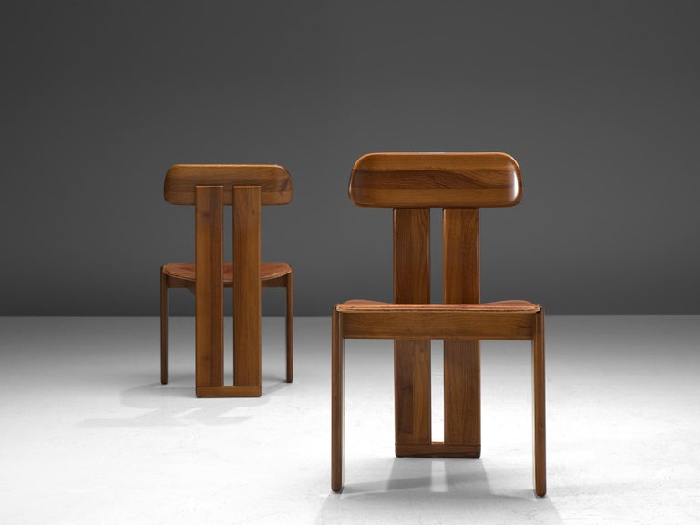 Leather Italian Set of Six Dining Chairs by Sapporo, 1970s
