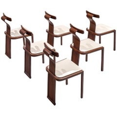 Italian Set of Six Sculptural Dining Chairs
