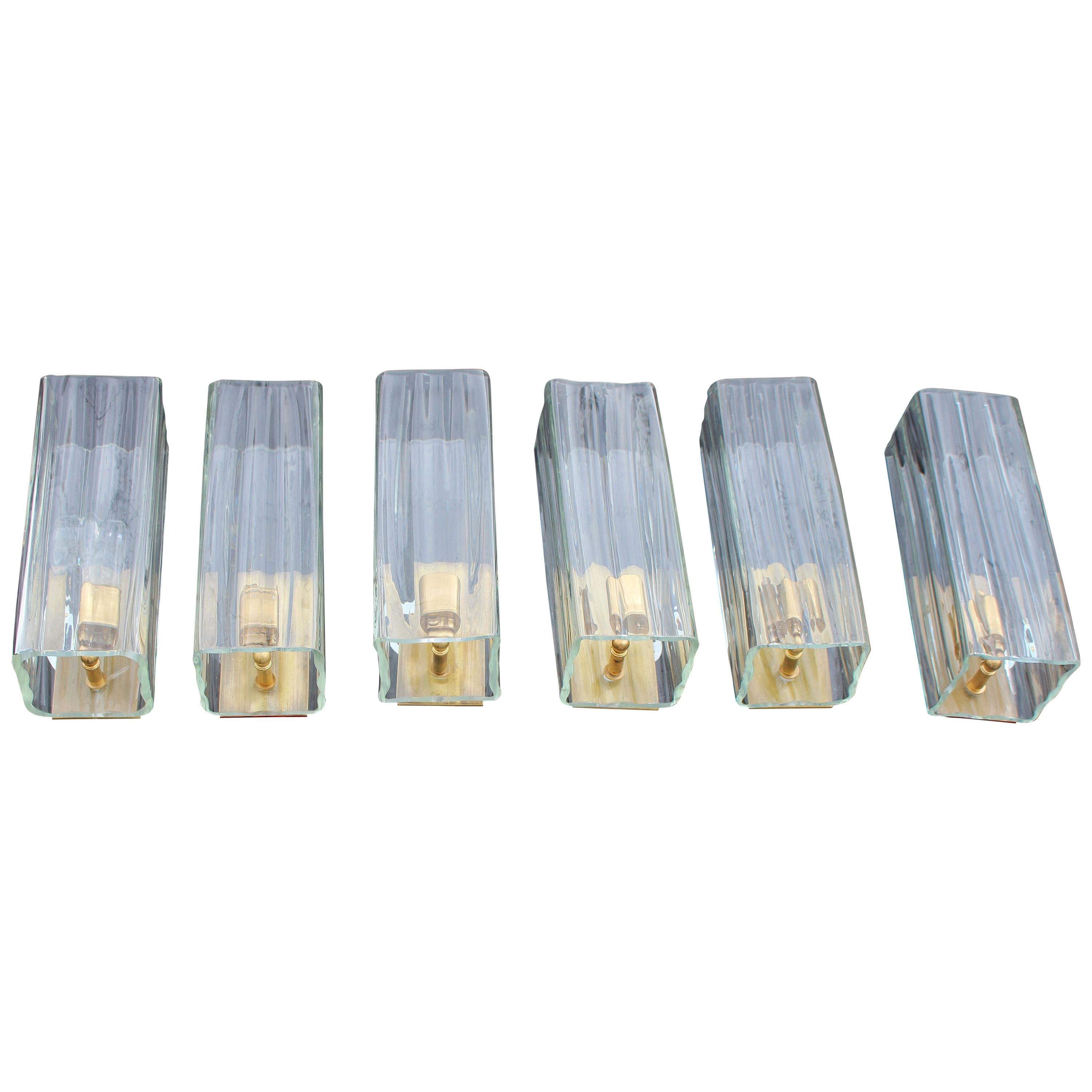 Italian Set of Six Sommerso Clear Glass Wall Sconces