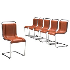 Italian Set of Six Tubular Chairs in Cognac Leather Attributed to Ico Parisi