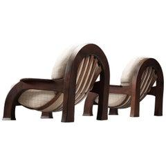 Italian Set of Sturdy Lounge Chairs in Oak