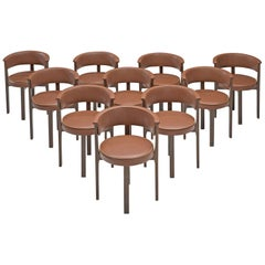 Dutch Set of Ten Armchairs with Round Seat