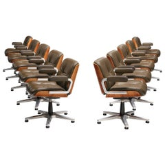 Italian Set of Ten Conference Swivel Chairs in Leather and Walnut, 1970s