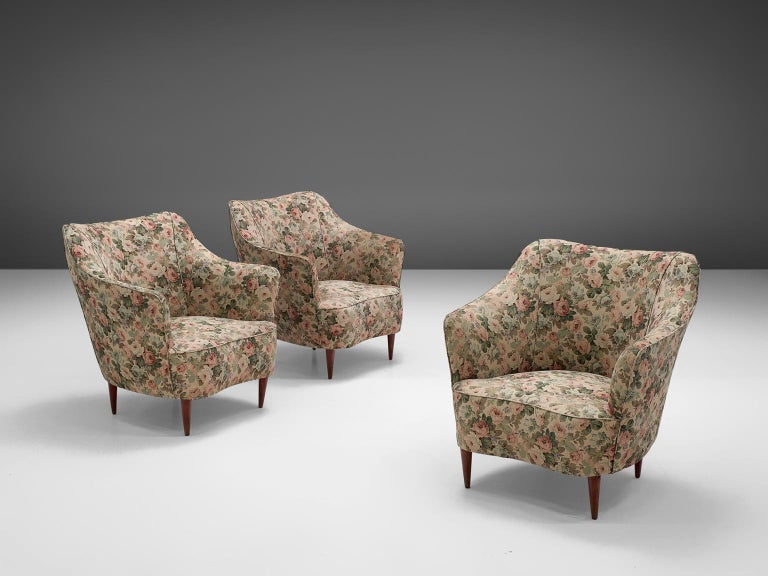 Mid-Century Modern Italian Set of Three Club Chairs with Floral Upholstery For Sale