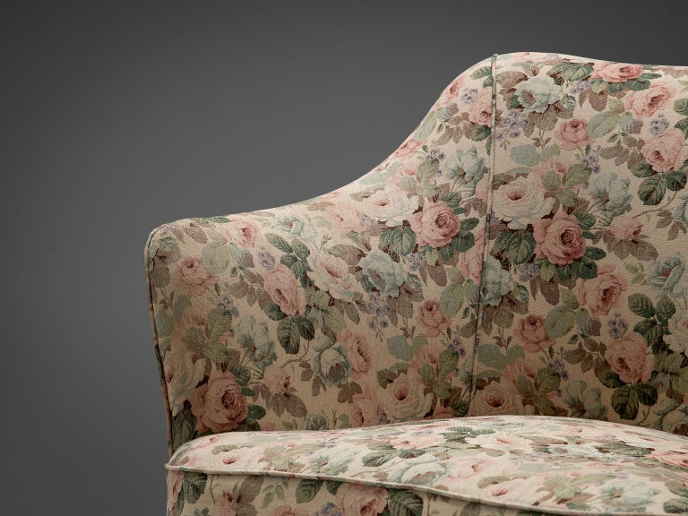 Fabric Italian Set of Three Club Chairs with Floral Upholstery For Sale