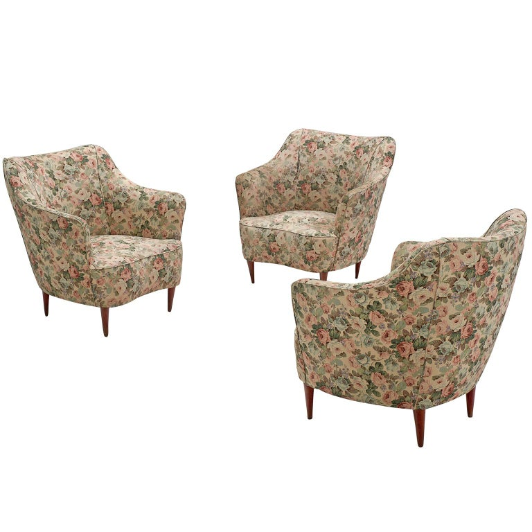 Italian Set of Three Club Chairs with Floral Upholstery For Sale