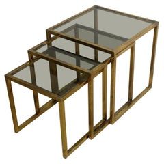 Italian Set of Three Nesting Brass Tables