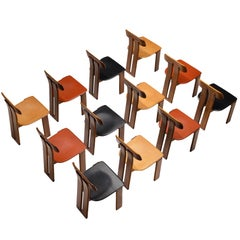 Italian Set of Twelve Dining Chairs by Sapporo in Mixed Colored Seats