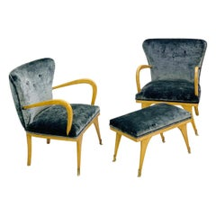 Italian Set of Two Armchairs and a Bench, New Velvet Upholstery