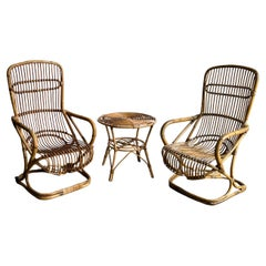 Italian Set of Two Chairs and One Side Table in Bamboo by Tito Agnoli 1960s