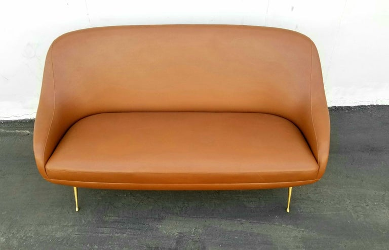 Faux Leather Italian Settee by Isa Bergamo For Sale
