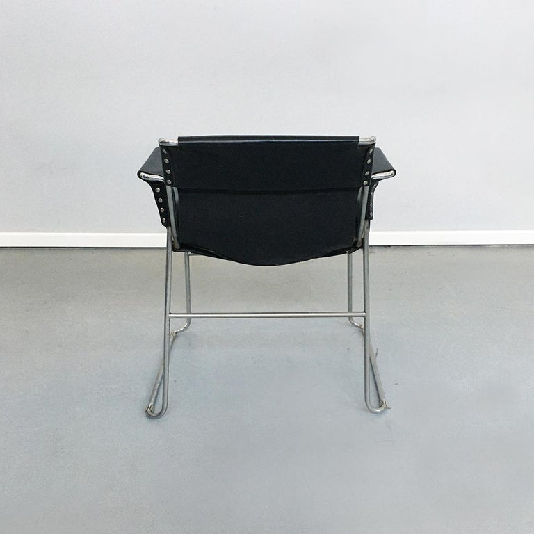 Italian 1970s Black Leather and Steel Chairs with Armrests, 1970s For Sale 5