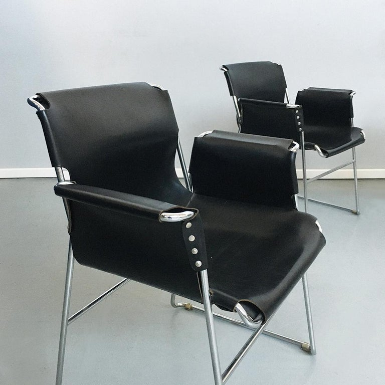 Italian 1970s Black Leather and Steel Chairs with Armrests, 1970s For Sale 6