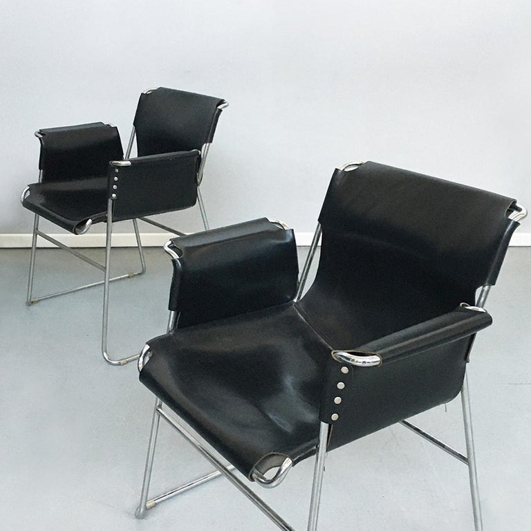Italian 1970s Black Leather and Steel Chairs with Armrests, 1970s For Sale 7