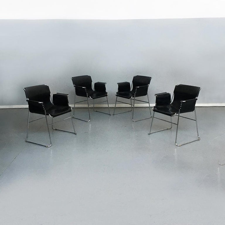 Space Age Italian 1970s Black Leather and Steel Chairs with Armrests, 1970s For Sale