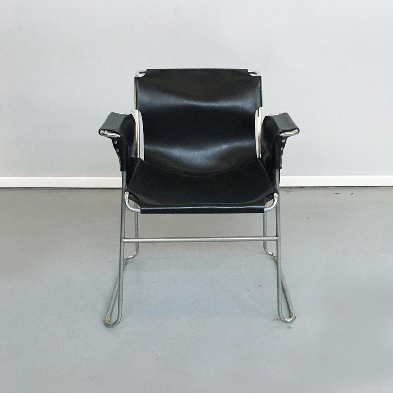 Italian 1970s Black Leather and Steel Chairs with Armrests, 1970s For Sale 1