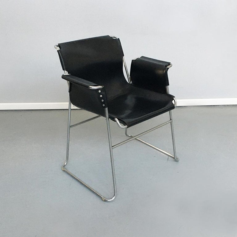 Italian 1970s Black Leather and Steel Chairs with Armrests, 1970s For Sale 2