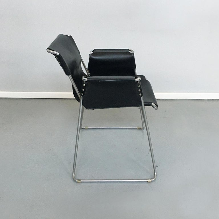 Italian 1970s Black Leather and Steel Chairs with Armrests, 1970s For Sale 3