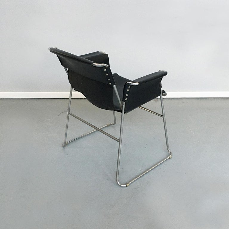 Italian 1970s Black Leather and Steel Chairs with Armrests, 1970s For Sale 4
