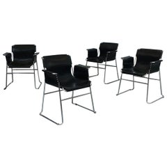 Italian 1970s Black Leather and Steel Chairs with Armrests, 1970s