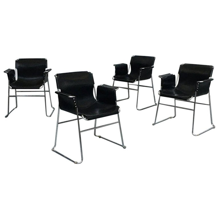 Italian 1970s Black Leather and Steel Chairs with Armrests, 1970s For Sale