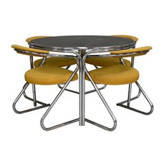 Italian 1970s Dining Set in Chrome and Smoked Glass, circa 1970