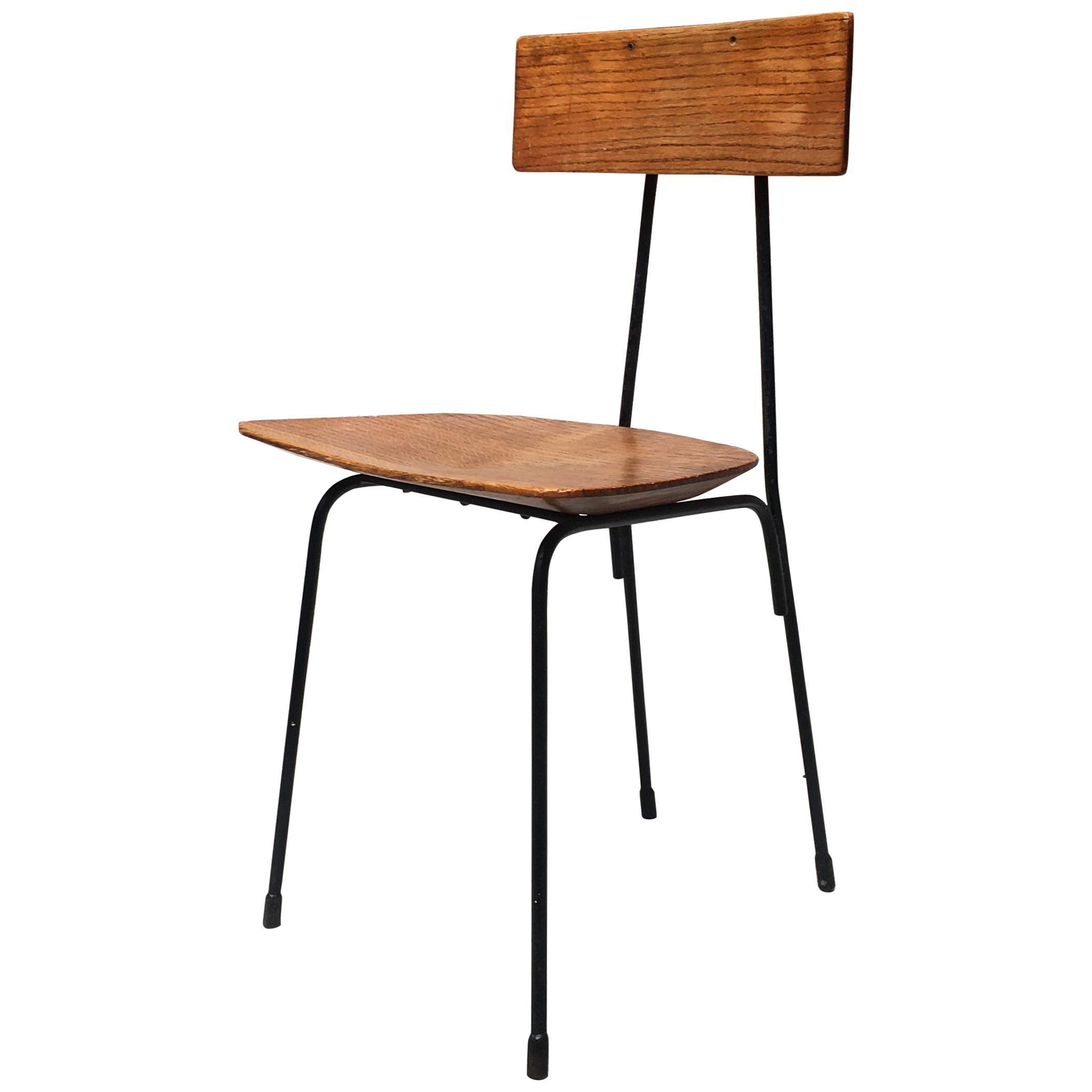Italian Shaped Oak Chair, 1960s