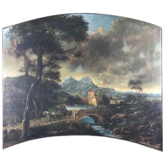 Italian Landscape Arched Overdoor Oil on Canvas Painting 1980